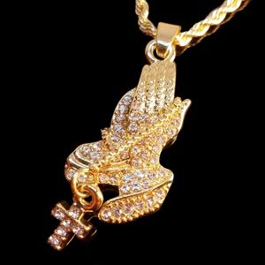 14k Gold Plated Iced Out Praying Hands Necklace